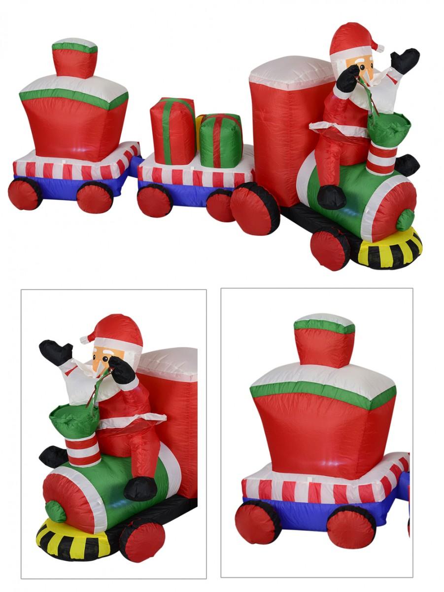 christmas santa train carriages illuminated inflatable 24m