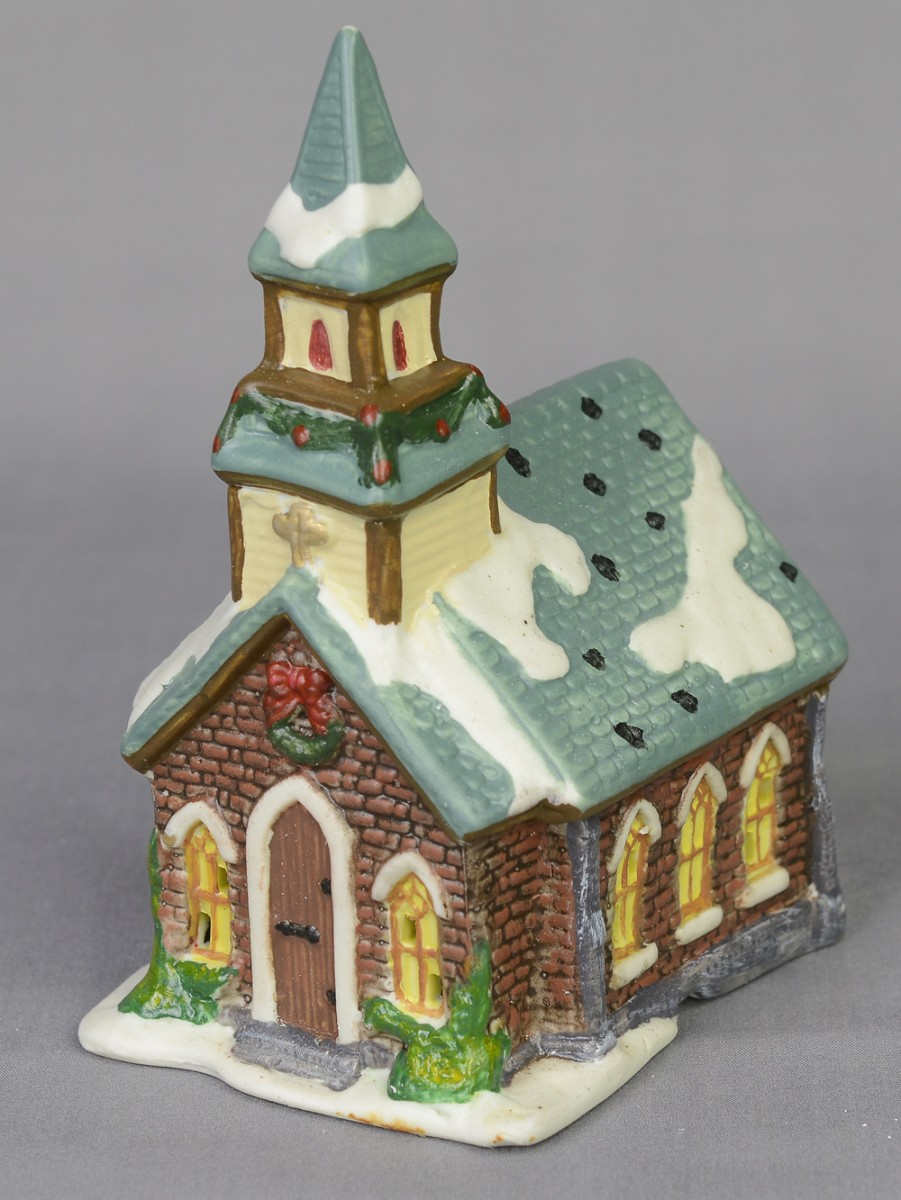 large village set with church  shops  trees figurines