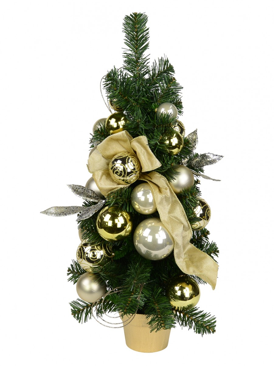Gold Champagne Bauble Pre Decorated Pine Table Tree 65cm