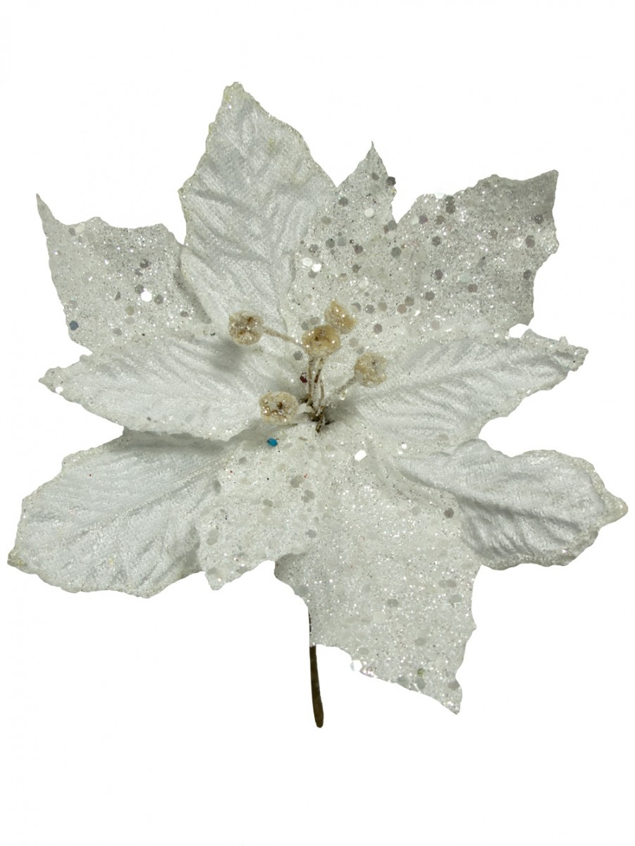 white sequin fabric petal poinsettia decorative pick 16cm - Poinsettia Christmas Decorations
