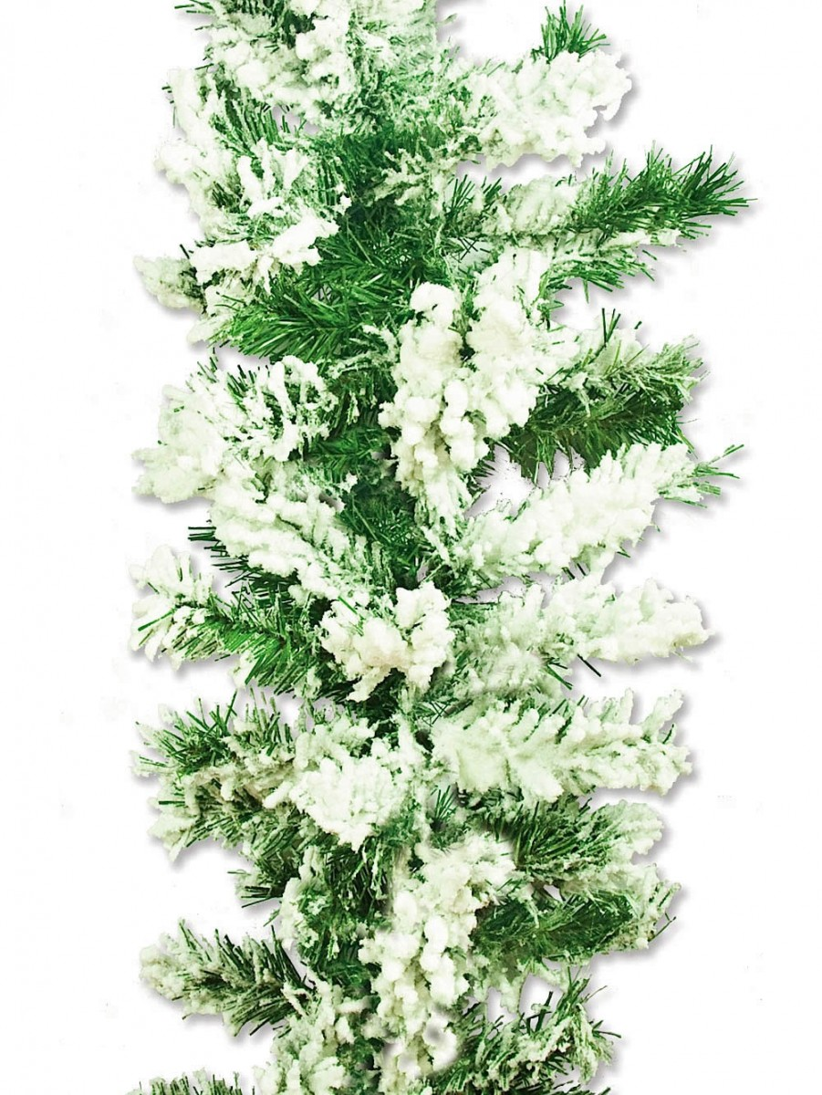 Flocked antarctic thick pine branch garland with snow