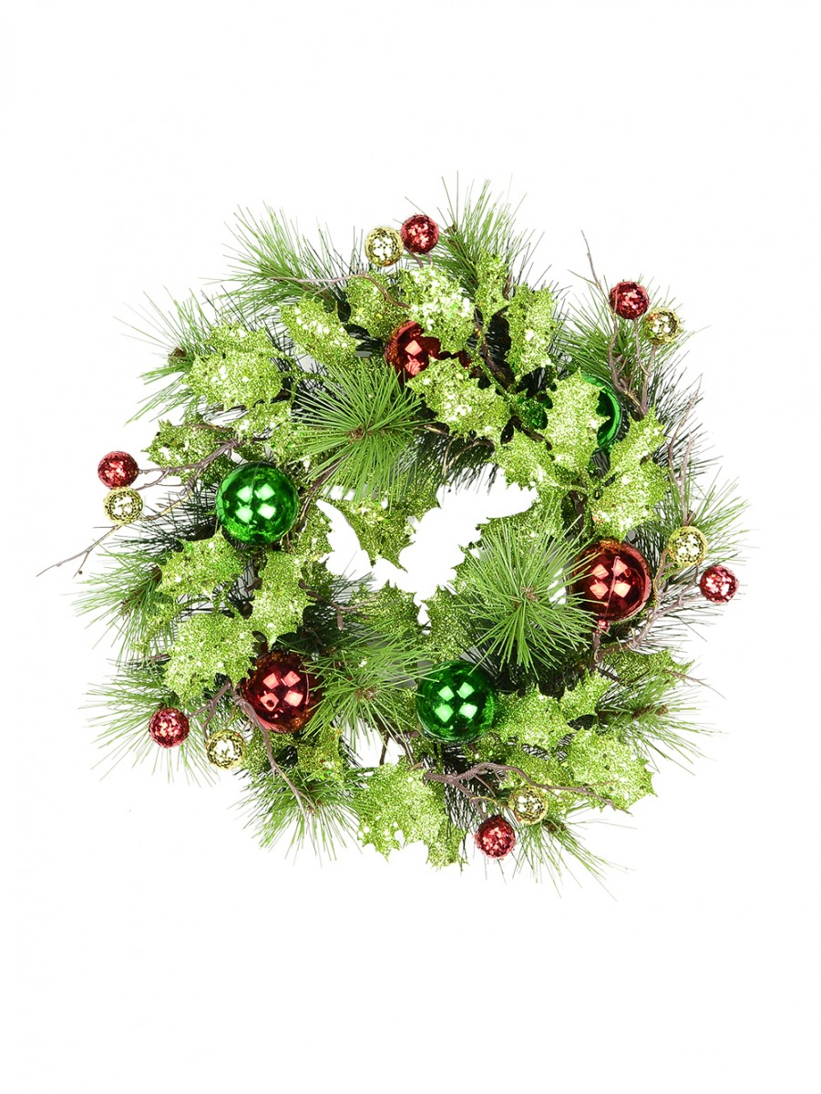 Contemporary glittered lime green decorated wreath cm