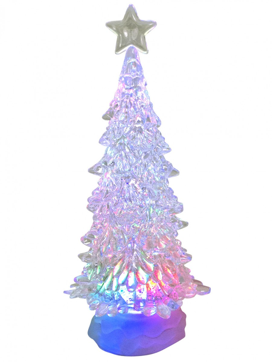 Large Clear Led Illuminated Tree Snow Globe Ornament ...