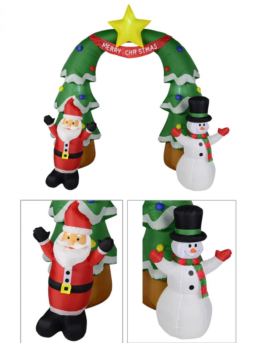 Santa & Snowman Christmas Tree Archway Illuminated Inflatable - 2m ...