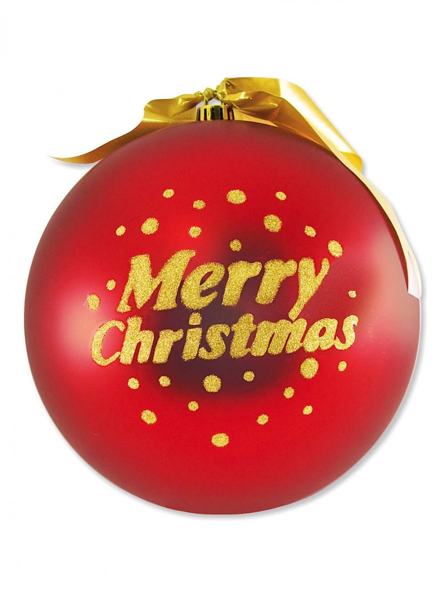 6cd9ed03ac36 Large Red Display Bauble Decoration With Gold Merry Christmas - 25cm ...