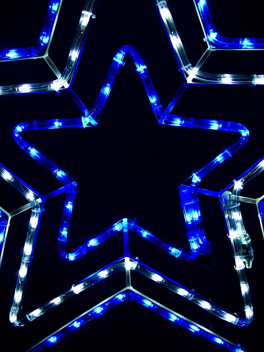 Blue cool white led triple star rope light silhouette 80cm blue cool white led triple star rope light silhouette aloadofball Choice Image