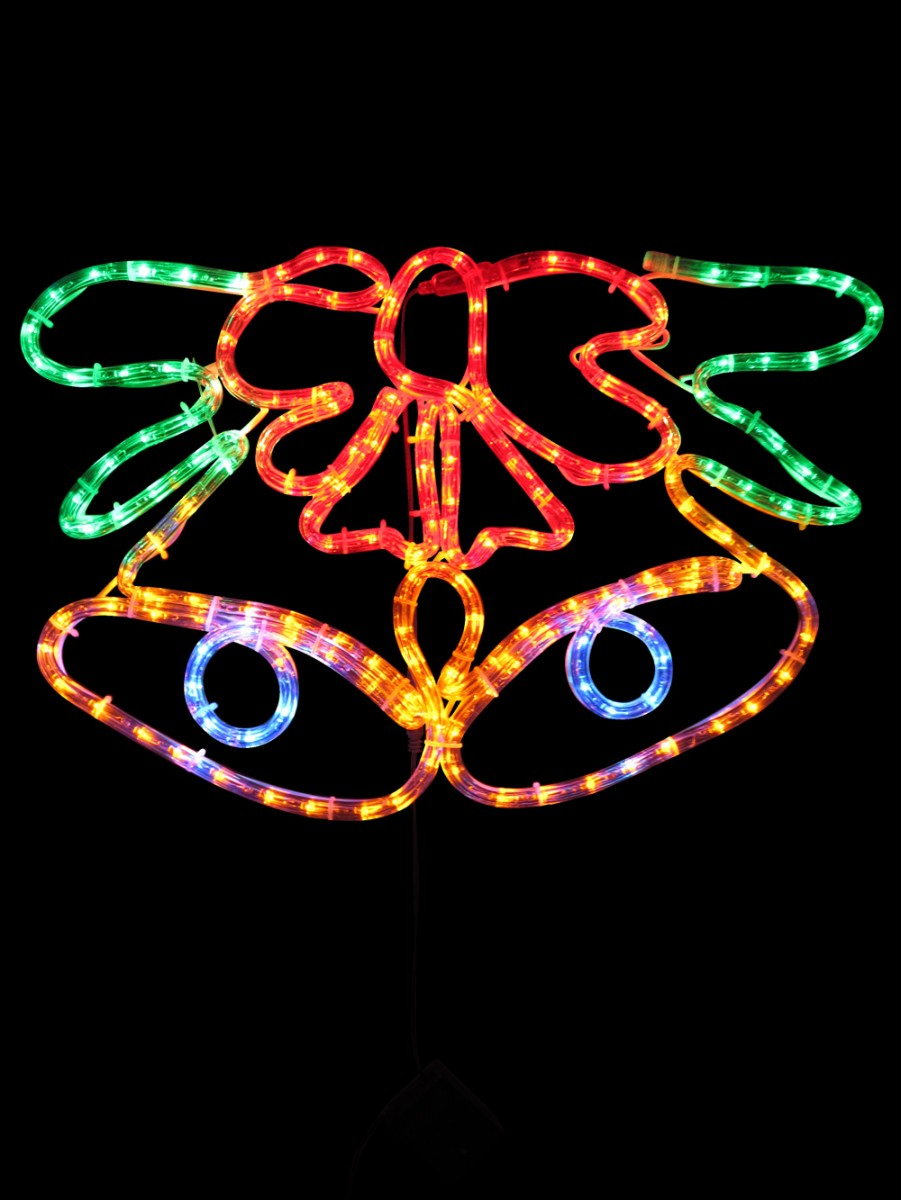 multi colour christmas bell led rope light silhouette 52cm