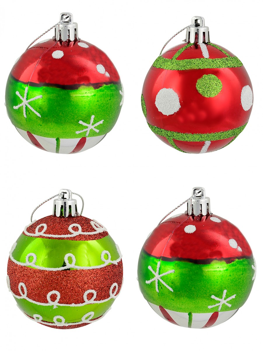 assorted red green silver pattern baubles 6 x 60mm