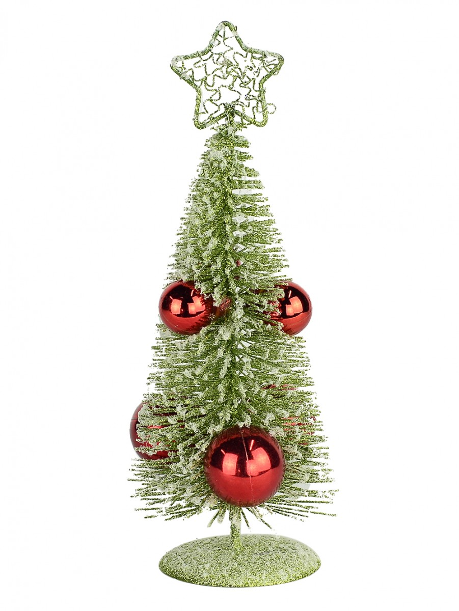 Flocked Green Wire Tree With Red Baubles 20cm