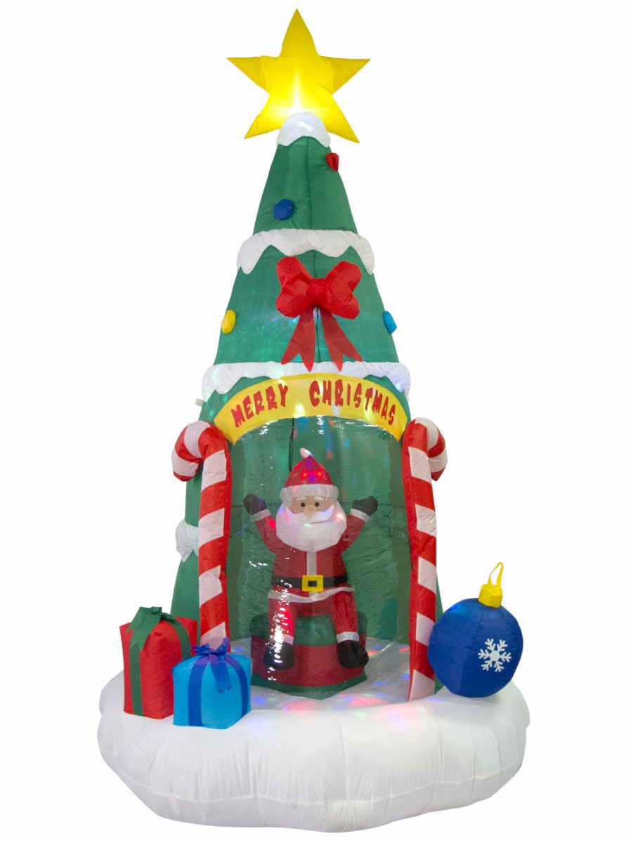 Santa Sitting In Christmas Tree Illuminated Inflatable 2