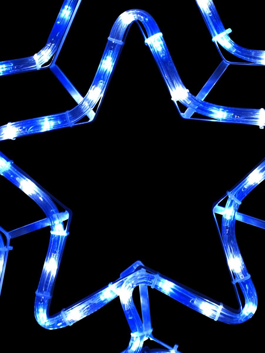 Blue cool white led double star rope light silhouette 52cm blue cool white led double star rope light silhouette aloadofball Gallery