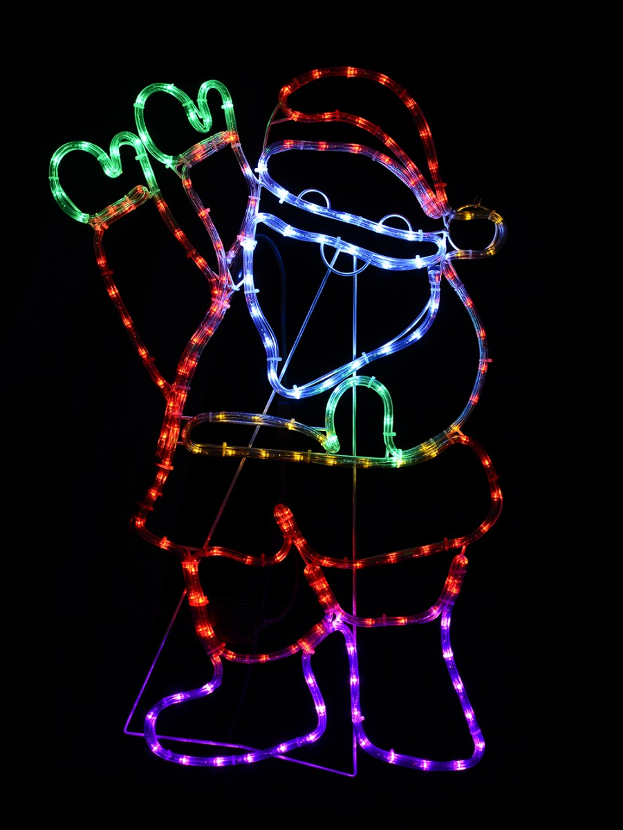 Santa waving led rope light silhouette cm christmas
