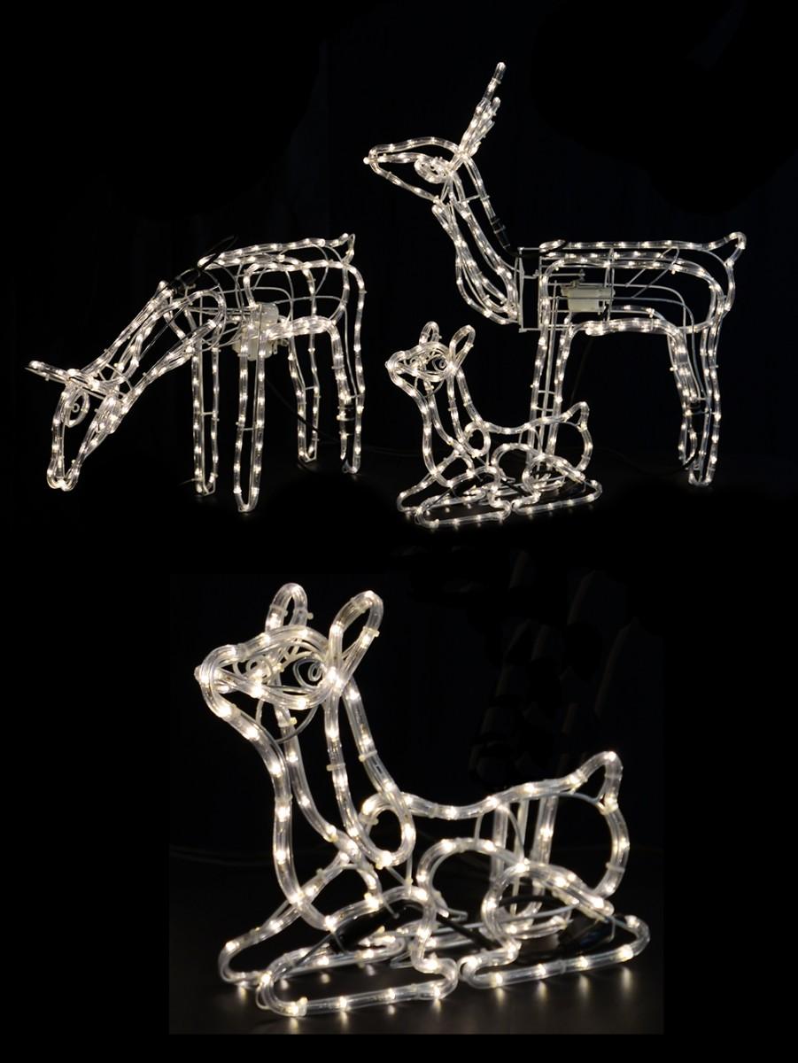 White Led 3d Reindeer Family Rope Light Display 3 Set