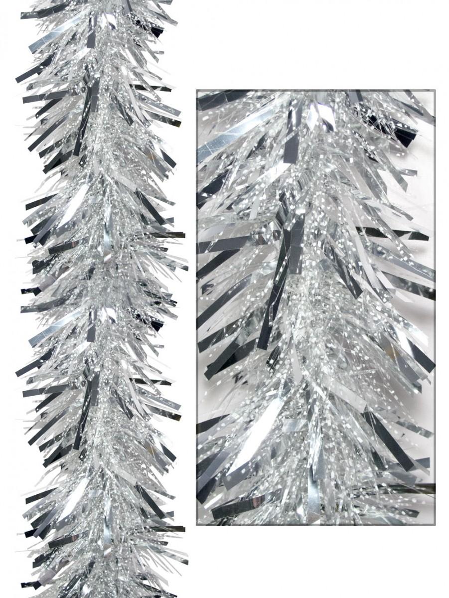 Thick metallic silver thin transparent tinsel garland