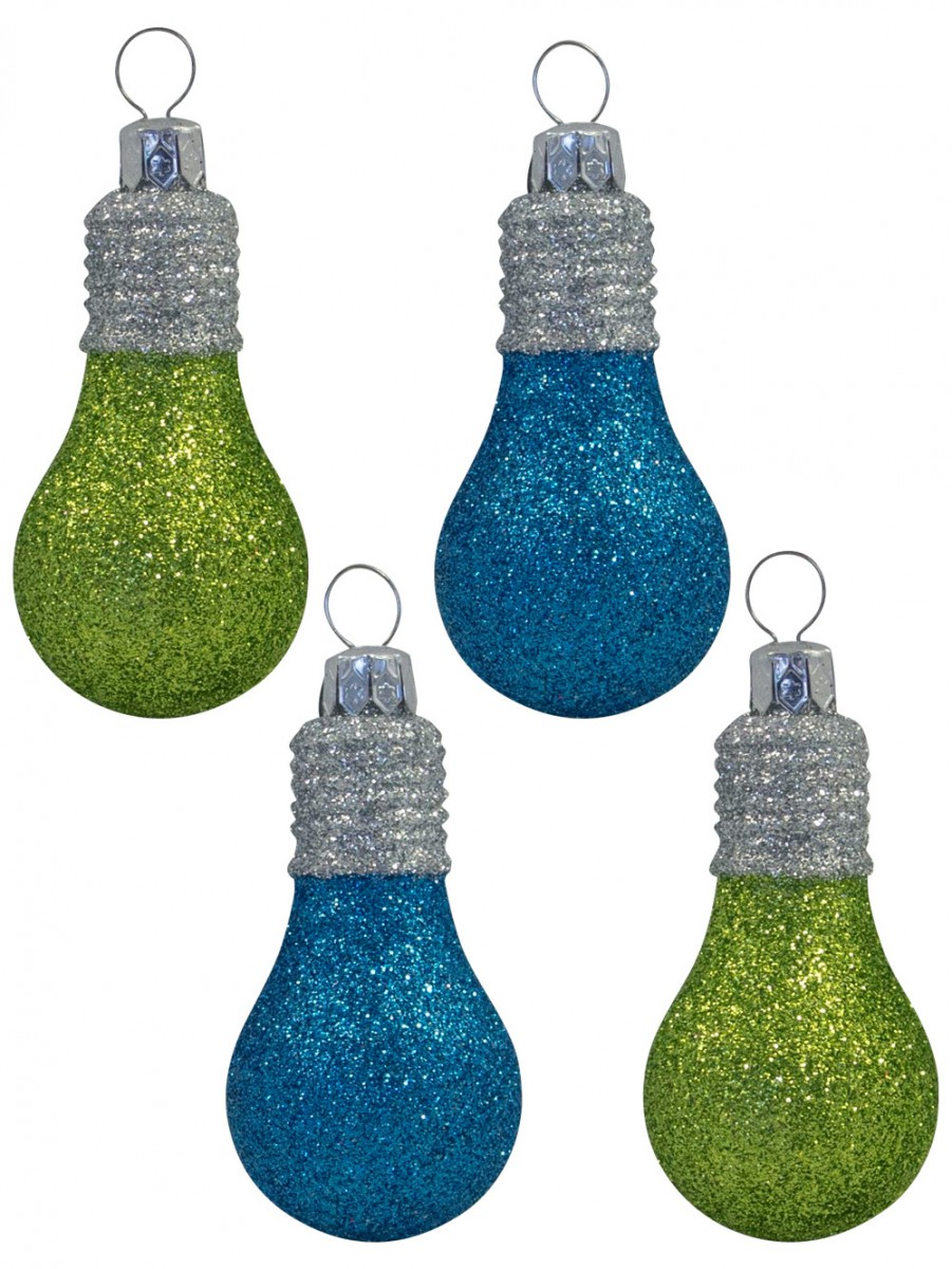 glittered lime green turquoise light bulb decorations 4 x 70mm - Lime Green And Blue Christmas Decorations