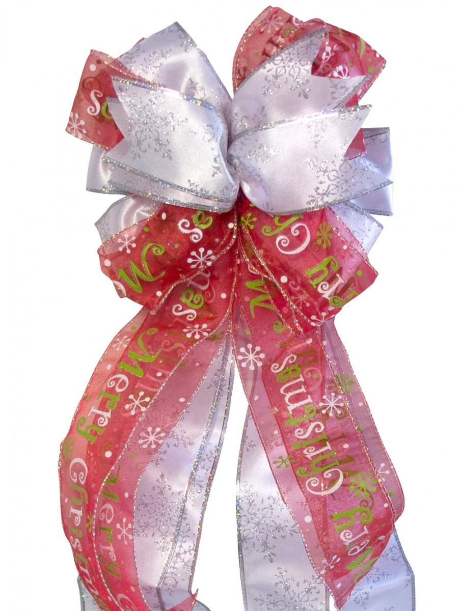 Iridescent red with merry christmas ribbon tree top bow for Red ribbon around tree