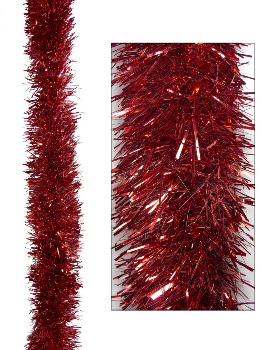 Red metallic ply tinsel garland cm m garlands