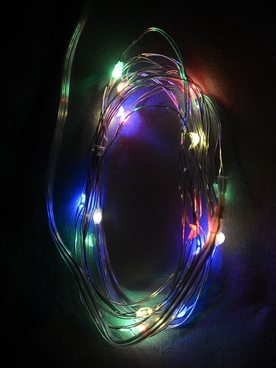 Micro Christmas Lights.20 Multi Coloured Battery Powered Led Micro Lights With