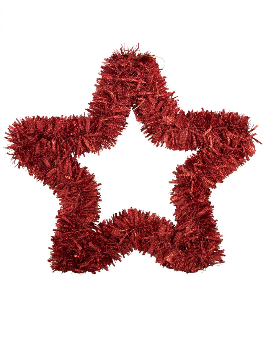 Red metallic tinsel star hanging decoration cm