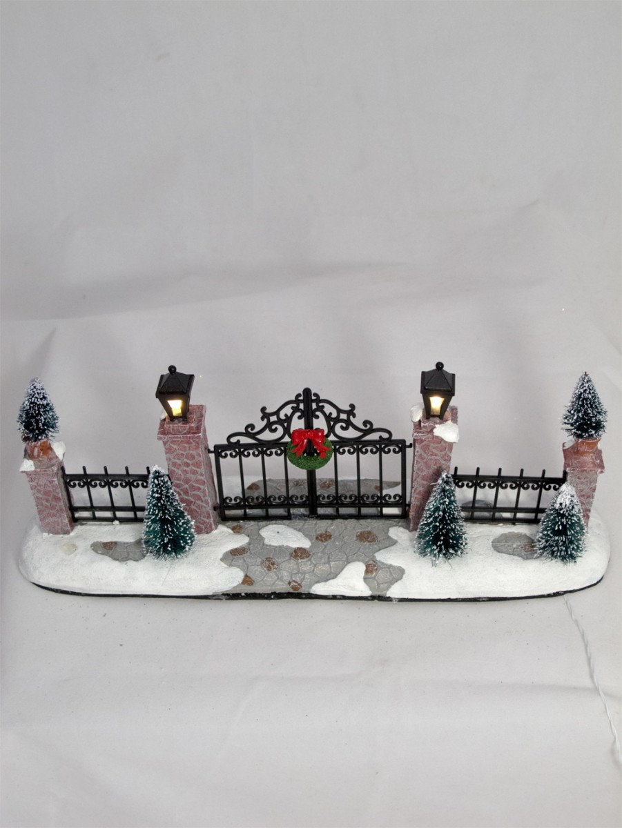 Iron Gate Stone Pillars With Lit Lanterns Figurine 24cm