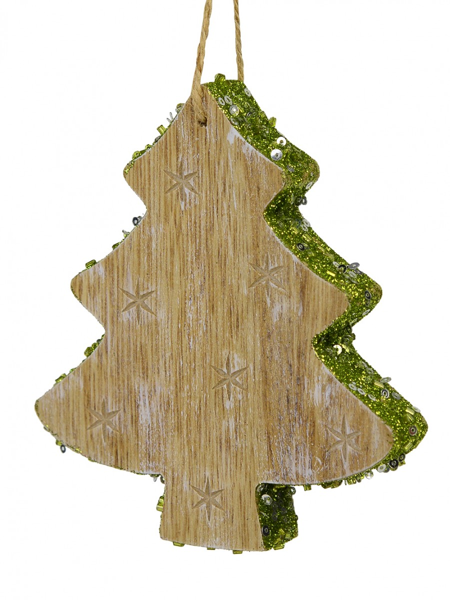 Wood Christmas Tree Hanging Ornament With Green Glitter Trim 12cm Christmas Decorations Buy Online From The Christmas Warehouse