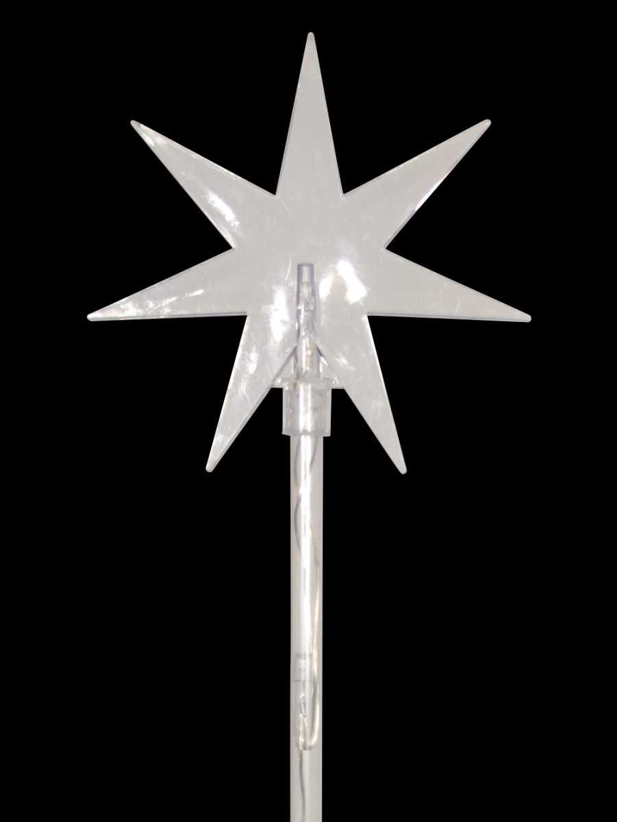 6 Blue Led Solar North Stars On Stakes 66cm Christmas