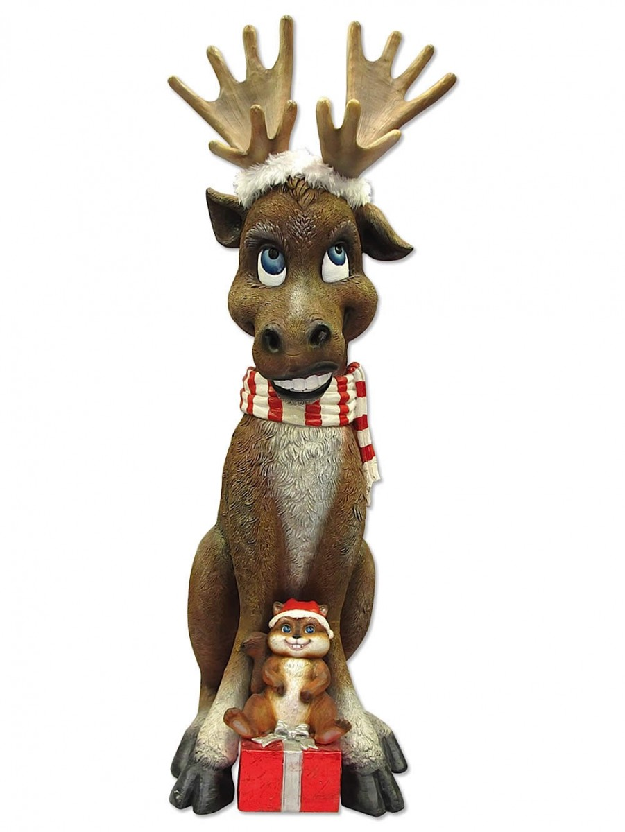 Comical Resin Moose With Chipmunk Gift Decor