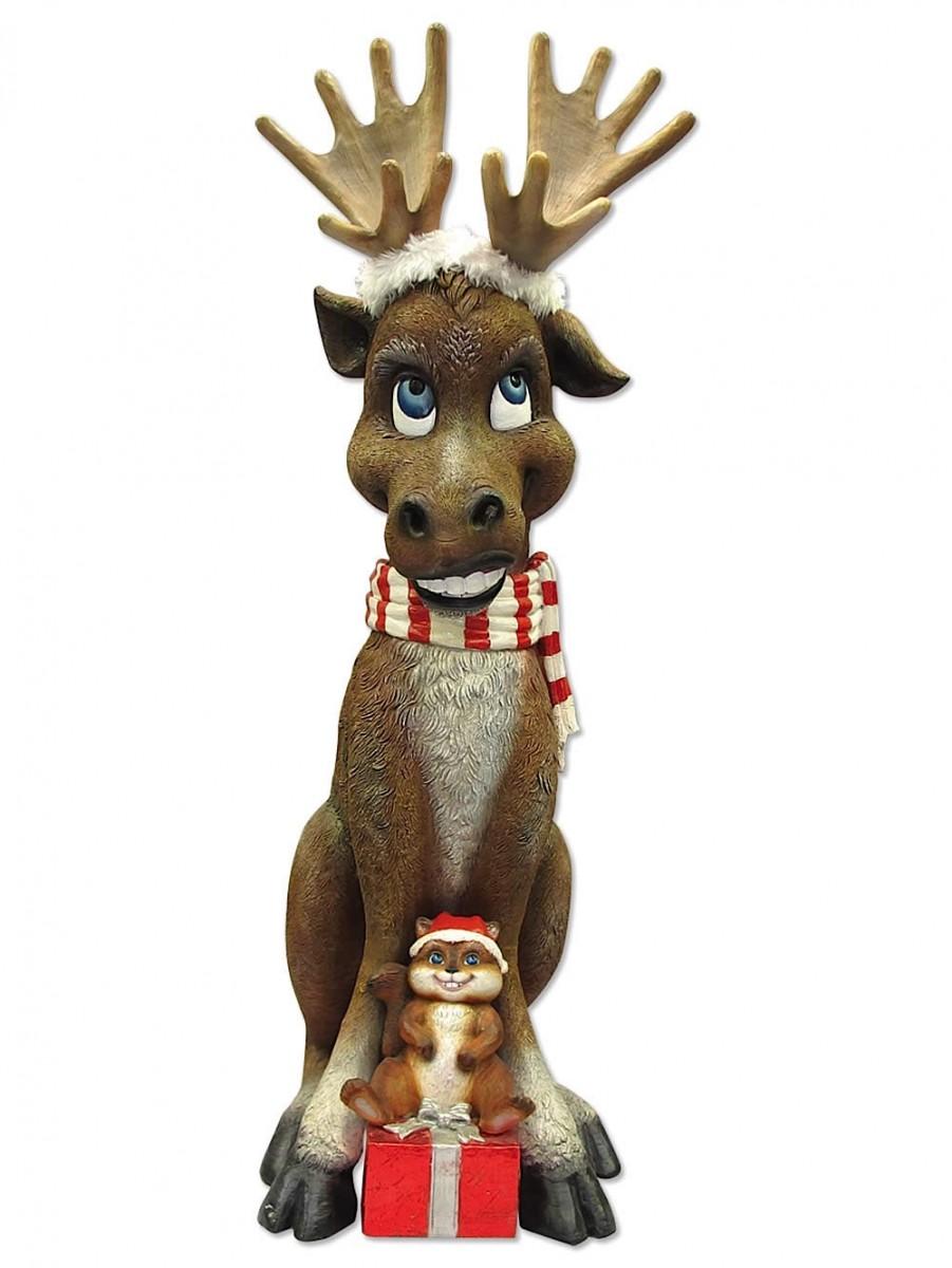 Comical resin moose with chipmunk gift decor Christmas moose home decor