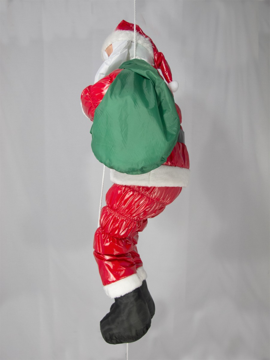 Large hanging padded santa outdoor decoration for Large outdoor hanging ornaments