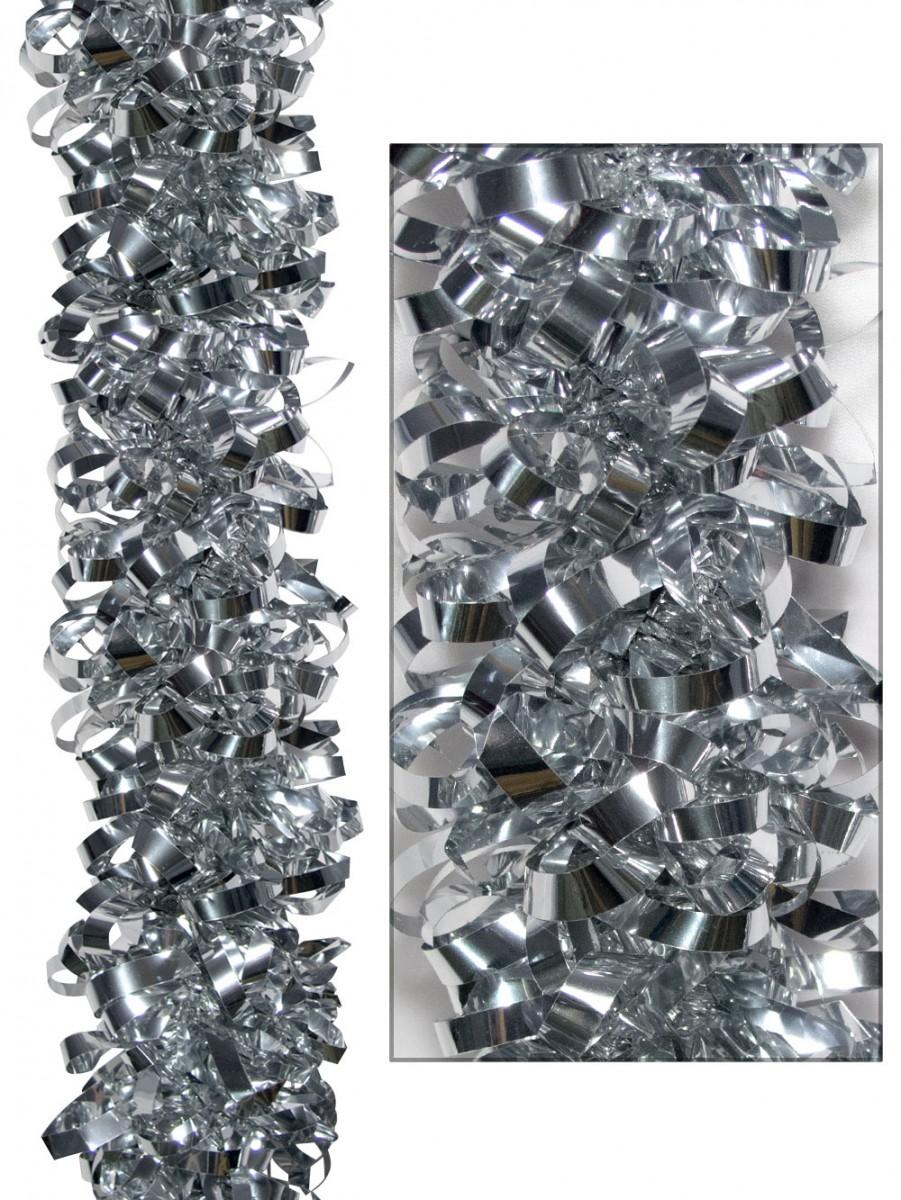 Looped metallic silver tinsel garland m christmas