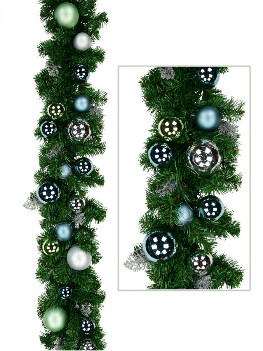 Pre Decorated Tiffany Blue Silver Mint Baubles Pine Garland 2 3m Garlands Wreaths Tinsel Buy Online From The Christmas Warehouse