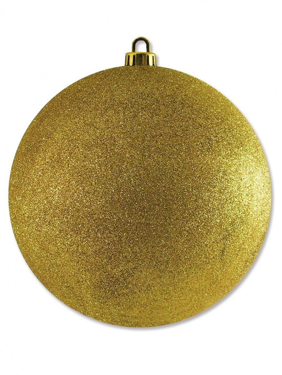 Large Glittered Gold Bauble Decoration - 20cm | Large Decor & Inflatables | The Christmas Warehouse