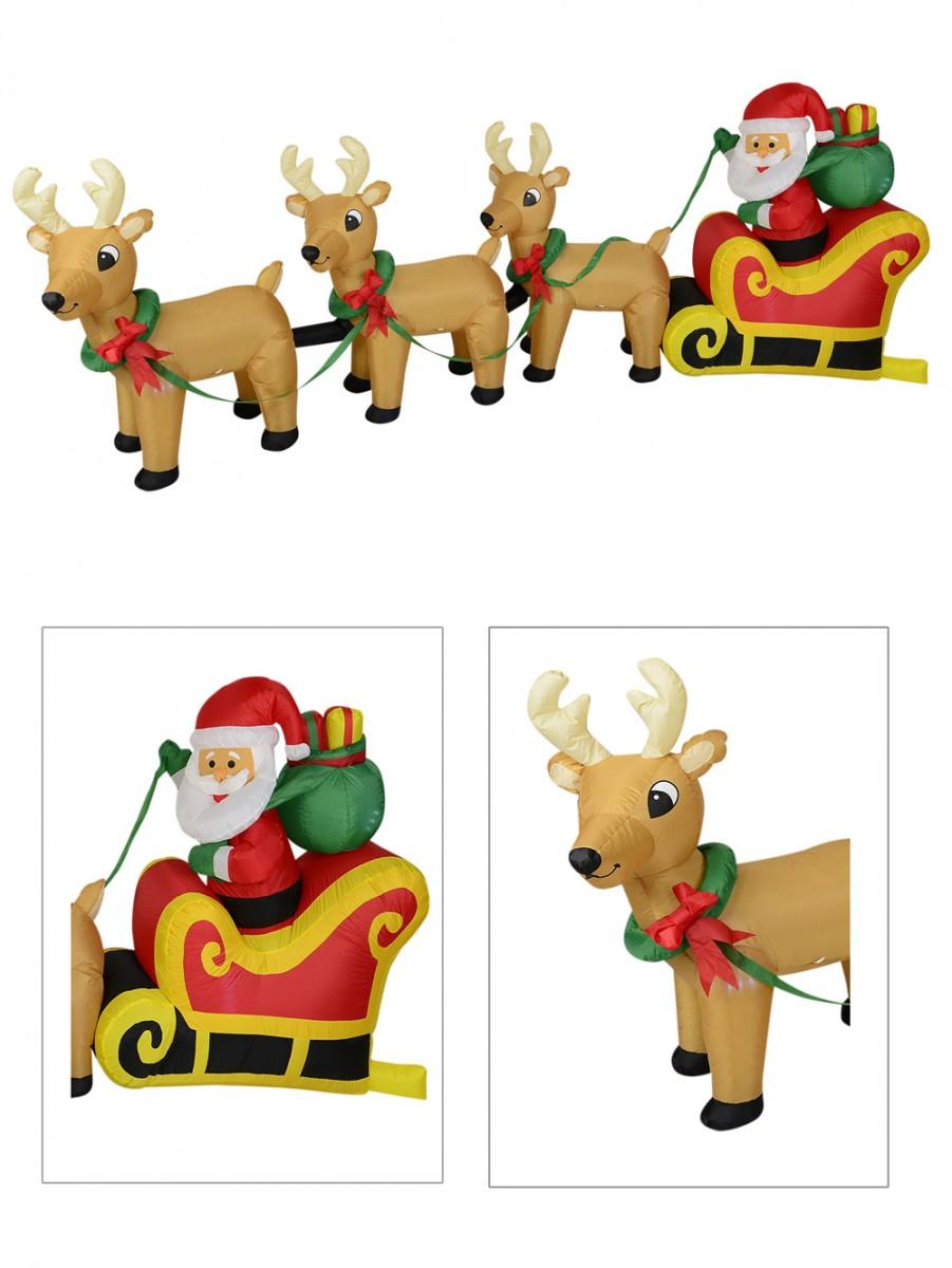 Santa & Reindeer Christmas Sleigh Illuminated Inflatable - 3.4m ...
