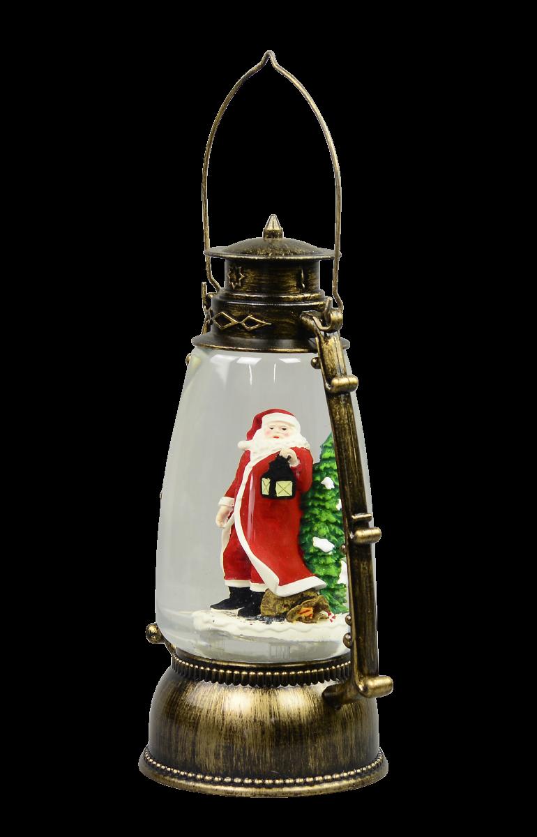 Santa In Antique Look Hurricane Lantern Snow Globe ...