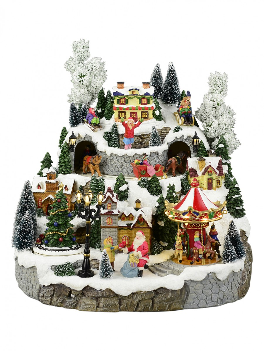 illuminated animated musical christmas snowy hillside village scene 33cm - Animated Christmas Village