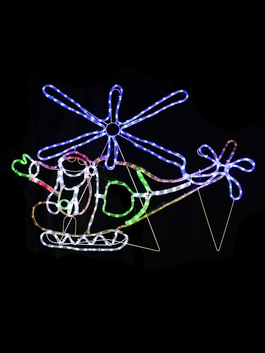 Multi colour santa flying helicopter led rope light silhouette 12 almost sold out multi colour santa flying helicopter led rope light silhouette 12m aloadofball Images