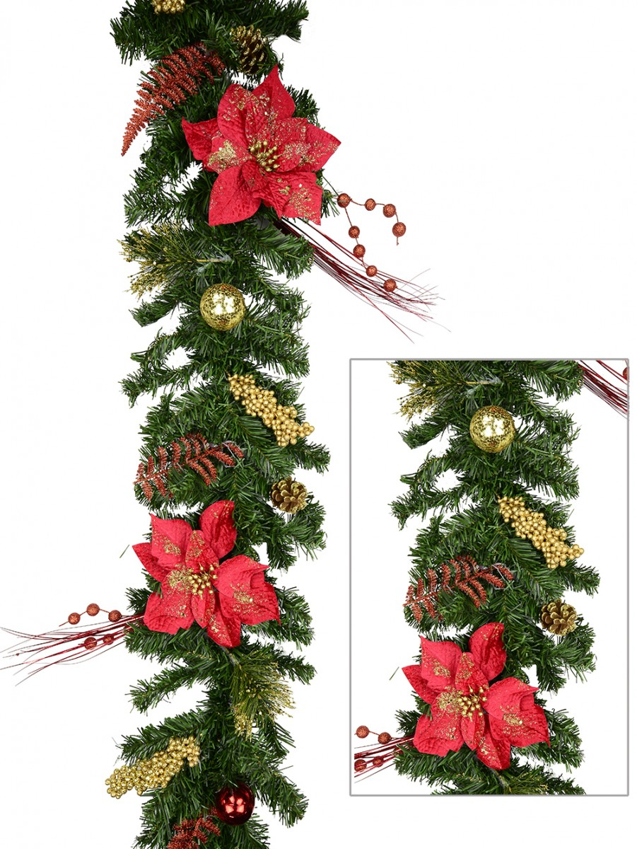 Pre decorated traditional red gold poinsettia pine for 5ft poinsettia garland christmas decoration