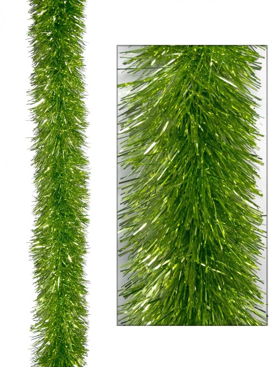 Lime green metallic ply tinsel garland cm m