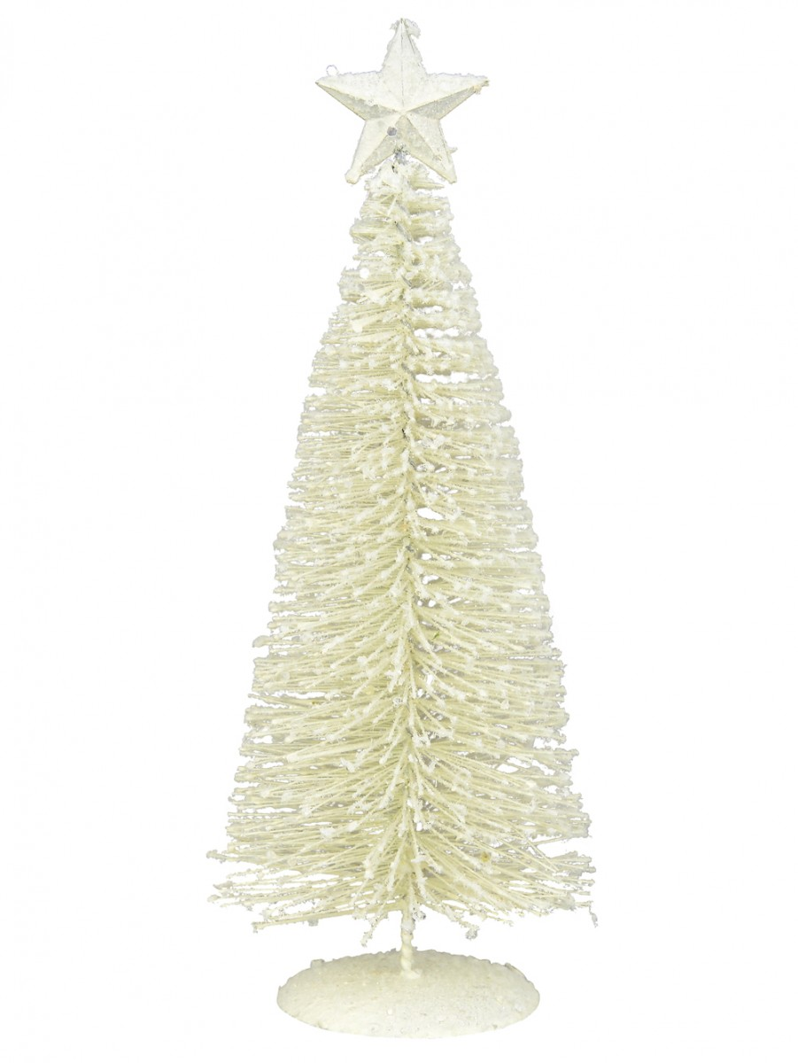White Iron Christmas Tree With Snow Dust & Star - 30cm | Christmas ...