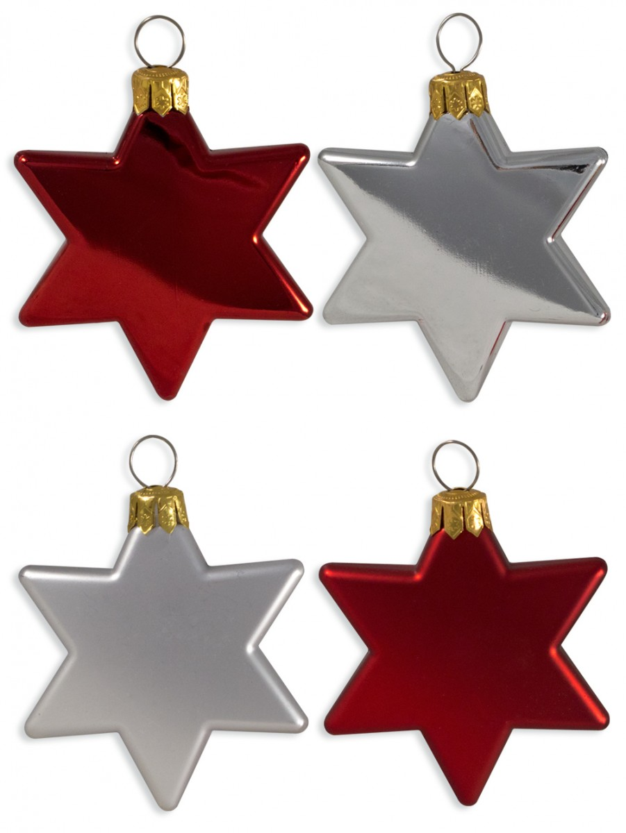 Red silver star decorations mm christmas