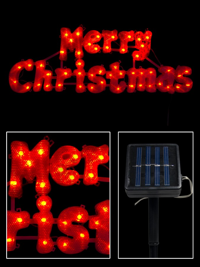 Red LED Solar Merry Christmas Sign - 49cm
