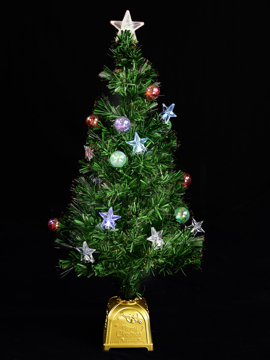 Fibre Optic Christmas Tree With Baubles.Led Star Bauble Fibre Optic Tree 90cm Christmas