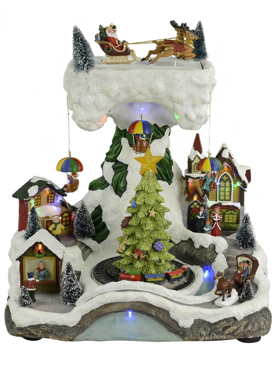Christmas Musical Scenes Ornaments Part - 15: Illuminated, Animated U0026 Musical Christmas Winter Village Scene Ornament -  38cm