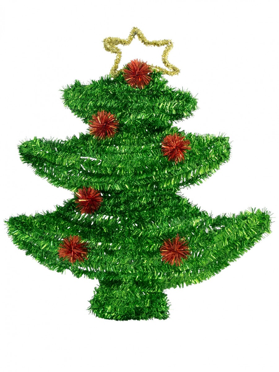 Metallic Tinsel Christmas Tree Hanging Decoration - 52cm ...
