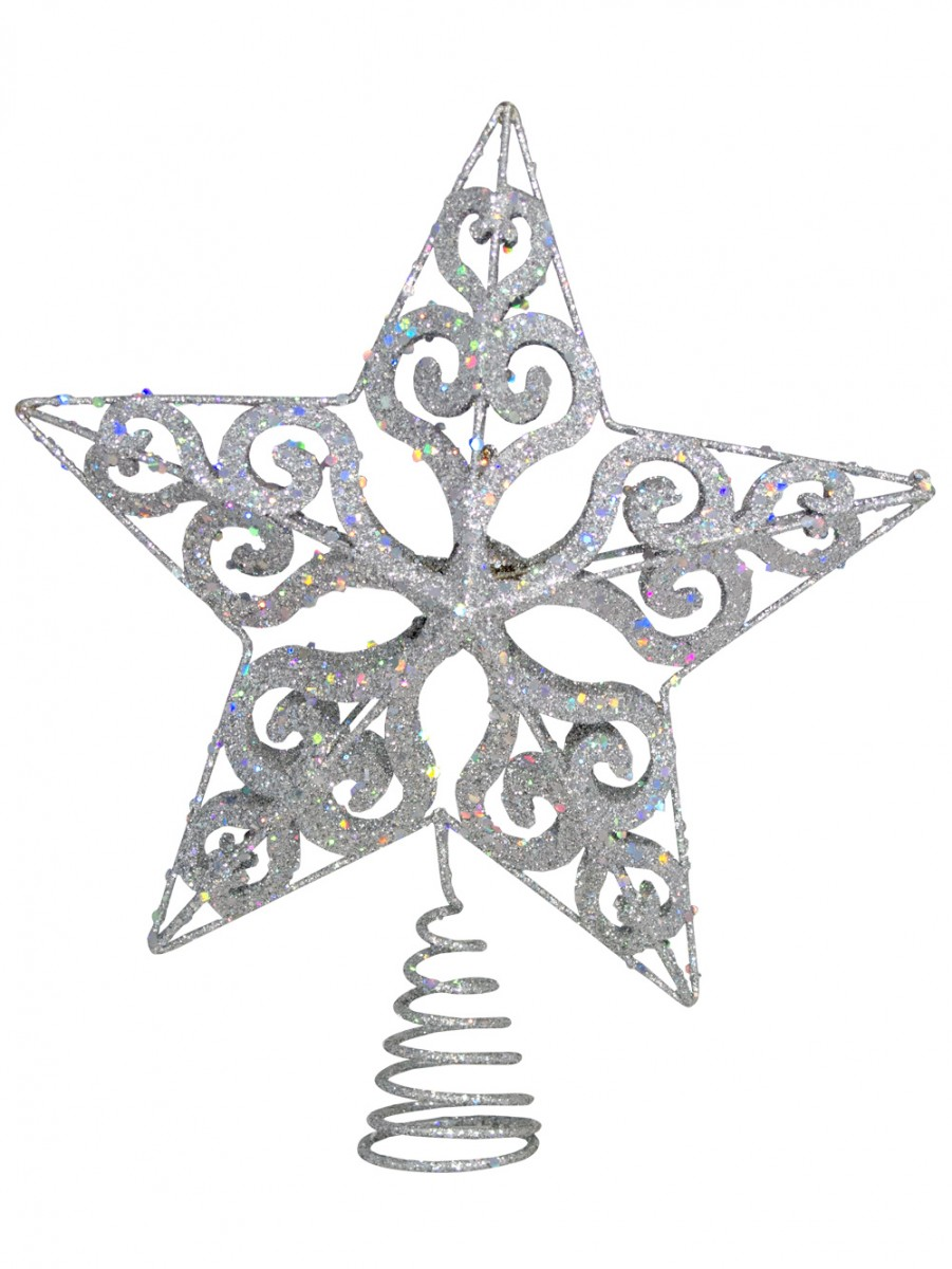 Silver filigree 3d star tree top decoration 24cm for 3d star christmas decoration