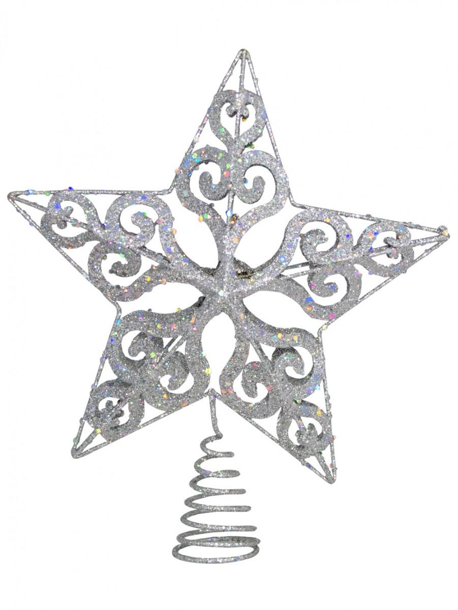 Silver Filigree 3d Star Tree Top Decoration - 24cm | Christmas ...