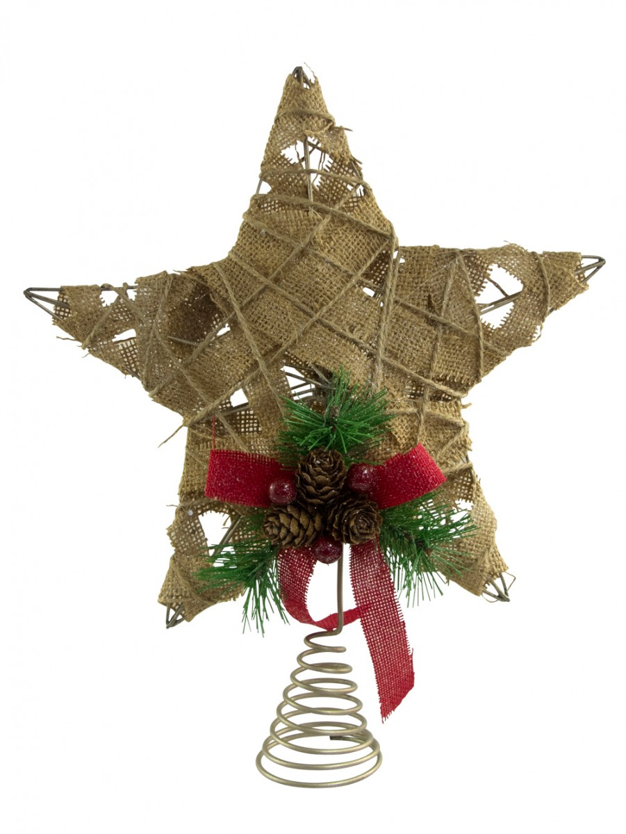 hessian jute 3d star tree top decoration 30cm