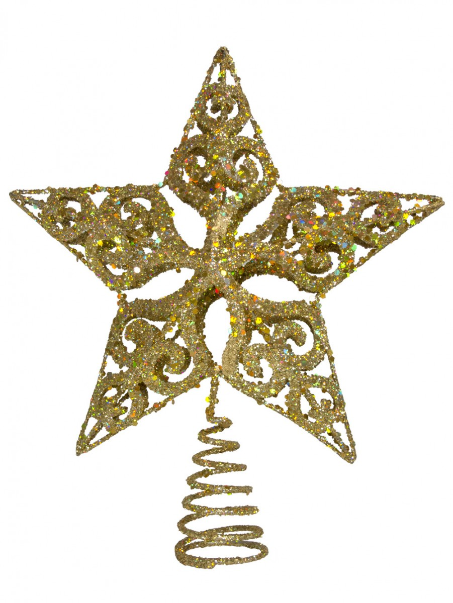 Gold filigree 3d star tree top decoration 24cm for 3d star christmas decoration