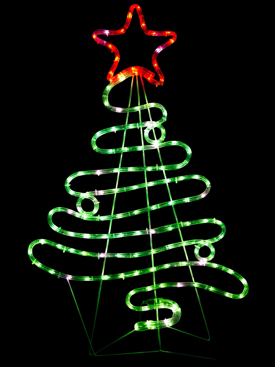 Christmas Lights Silhouette Png.Flowing Ribbon Style Christmas Tree Led Rope Light