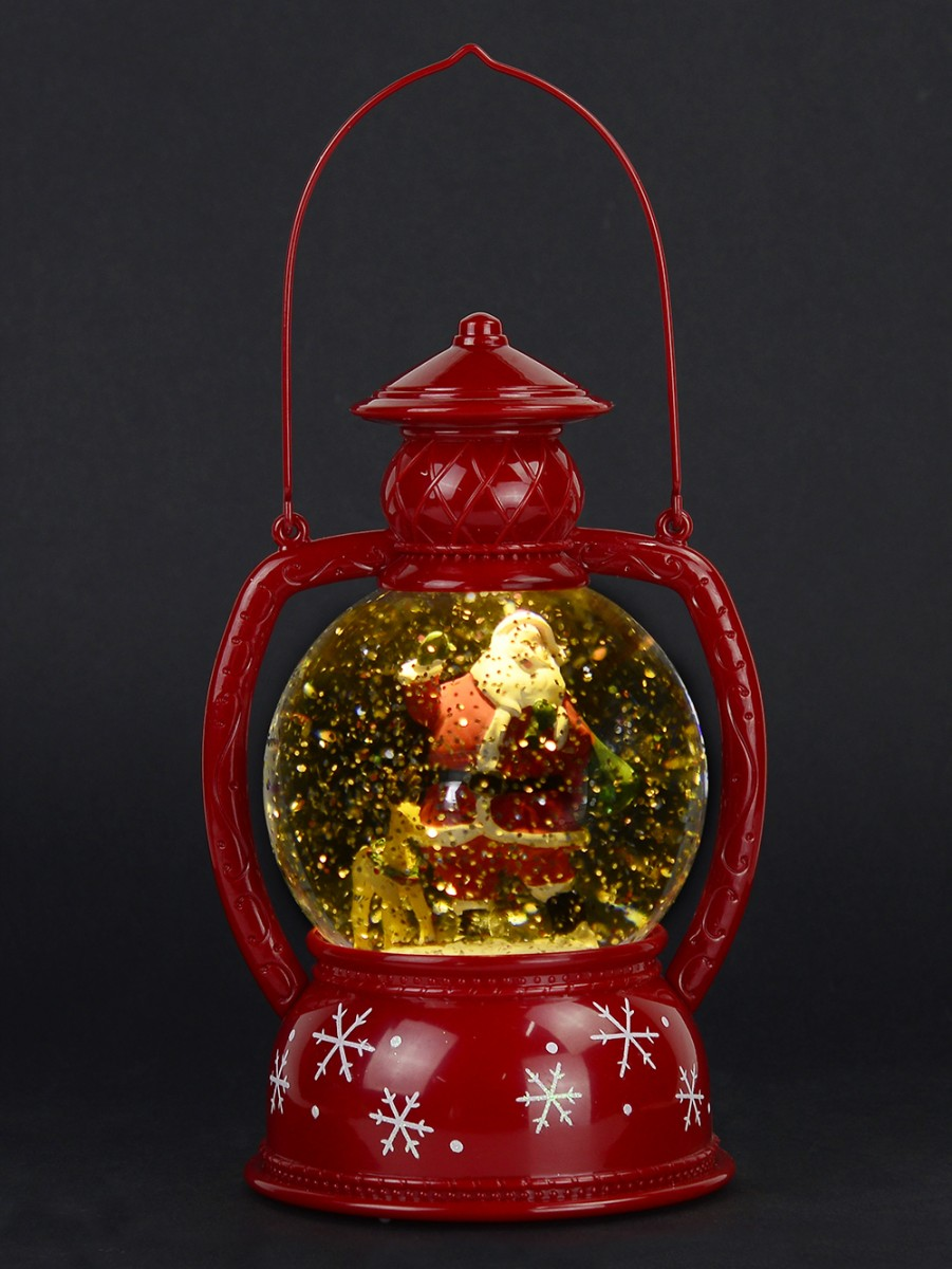 Santa Amp Reindeer In Hurricane Lamp Snow Globe Ornament